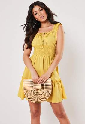 Missguided Mustard Shirred Waist Bardot Mini Dress