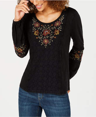 Style&Co. Style & Co Petite Embroidered Peasant Top