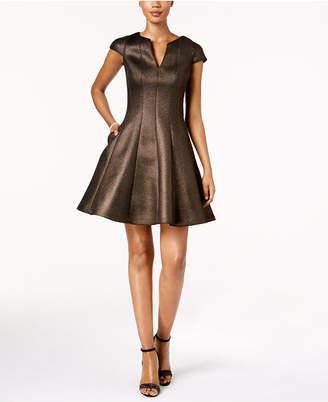 Julia Jordan Mesh Jacquard Fit & Flare Dress