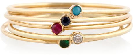 Jennifer Meyer Set of five 18-karat gold multi-stone stackable rings
