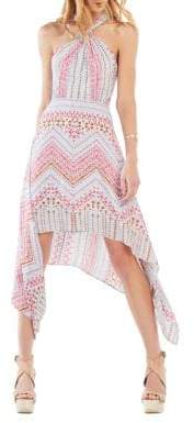 BCBGMAXAZRIA Danela Halter-Neck Geometric-Print Dress