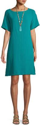 Eileen Fisher Short-Sleeve Lofty Organic Cotton Gauze Dress, Petite