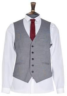 Mens Grey Texture Skinny Fit Suit Waistcoat