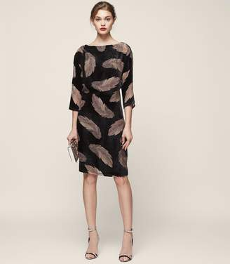Reiss Kindra - Feather Print Burnout Dress in Multi