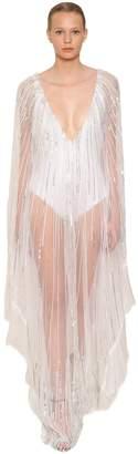Alberta Ferretti Sequin & Bead Embellished Tulle Caftan
