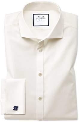 Charles Tyrwhitt Extra Slim Fit Cream Non-Iron Poplin Spread Collar Cotton Dress Shirt Single Cuff Size 14.5/32