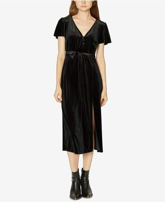 Sanctuary Puffed-Sleeve Tie-Belt Velvet Dress