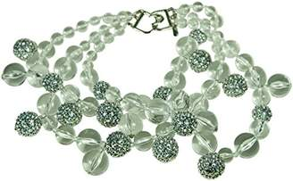 Kenneth Jay Lane 3 ROW CLEAR BEADS NECKLACE WITH PAVE CRYSTAL BALLS ACCENTS