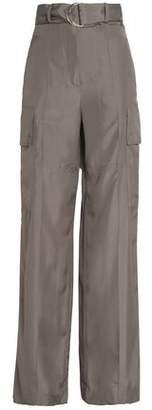 Nina Ricci Belted Silk Wide-Leg Pants