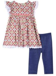 Baby Girl's Two-Piece Floral Cotton Top & Leggings Set