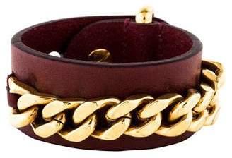 Fendi Leather Curb Chain Wrap Bracelet