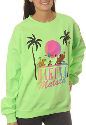Asstd National Brand Lion King Juniors' Hakuna Matata Character Line-Up Neon Crewneck Graphic Sweatshirt