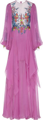 Costarellos Silk Embroidered Chiffon Dress Size: 40