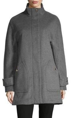 Anne Klein Stand Collar Full-Zip Coat