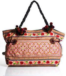 Designer Zazo Multi Color Embroidered Abstract Print Pom Pom Shoulder Handbag In Dust Bag