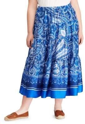 Lauren Ralph Lauren Plus Paisley-Print Twill Maxi Skirt