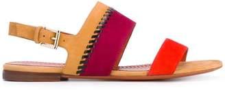 Santoni contrast panel sandals