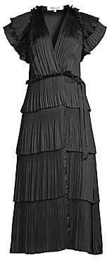 Diane von Furstenberg Women's Sasha Pleated Tiered Midi Wrap Dress
