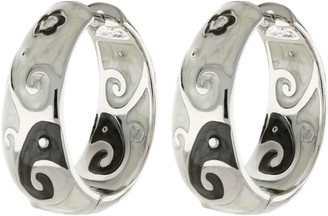 Ralph Lauren G. Adams G Adams Enamel Huggie Hoop Earrings withSwirl Design