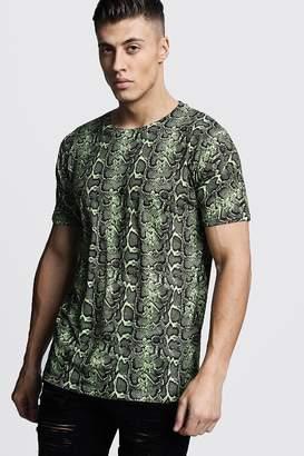 boohoo Loose Fit Snake Print Jersey Tee
