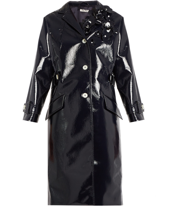 Miu MiuMIU MIU Floral-embellished vinyl coat