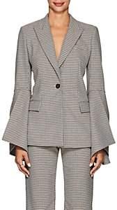 Prabal Gurung Women's Houndstooth Bell-Sleeve One-Button Blazer - Ecru Multi