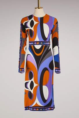 Emilio Pucci Maschere Print Jersey Knee Length Dress
