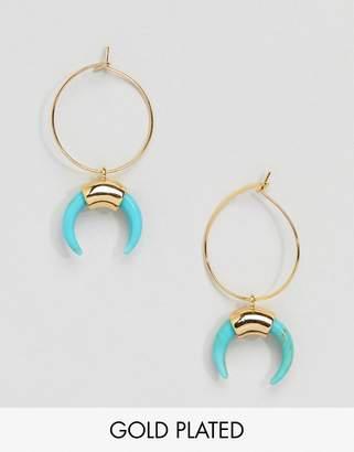 Orelia Gold Hoop Cresent Earrings in Turquoise