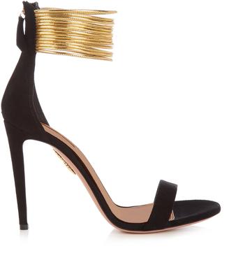 AQUAZZURA Spin Me Around suede sandals $755 thestylecure.com