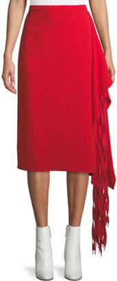 Tibi A-Line Crepe Midi Skirt w/ Fringe Drape