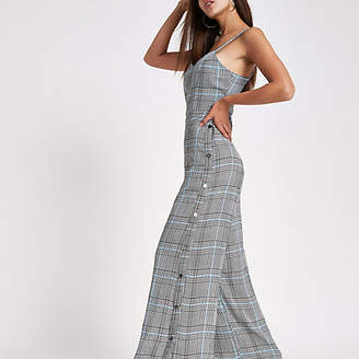 River Island Grey check wide leg popper side jumpsuit