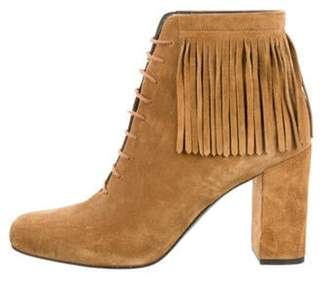 Saint Laurent Fringe Suede Ankle Boots Tan Fringe Suede Ankle Boots