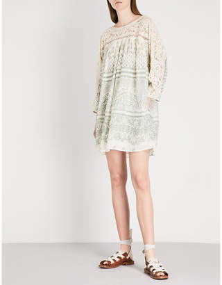 Free People Sun Daze lace-panelled printed cotton mini dress