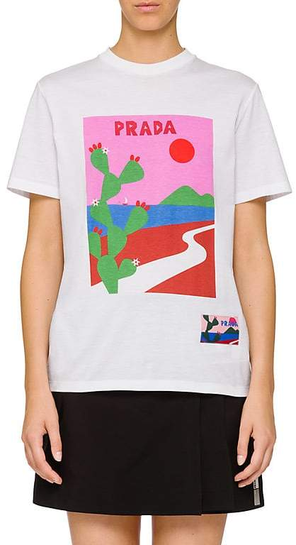 Prada Women's Graphic Cotton T-Shirt