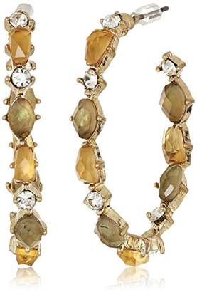 lonna & lilly Worn Gold/ Stone Hoop Earrings