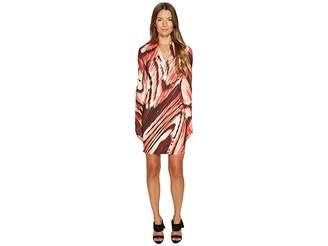 Just Cavalli Distorted Dragon Fly Print Long Sleeve Jersey Dress Women's Dress