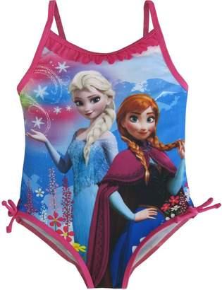 Disney Little Girls Blue Anna Elsa Frozen Print One Piece Swimsuit