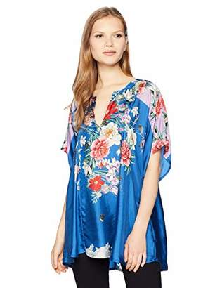 Johnny Was Women's Short Sleeve Patterned Poncho Blouse