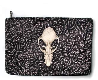 d804285a783cc Arlette Ess Fruit Bat Skull Velvet Clutch Bag