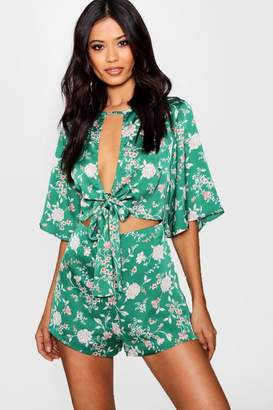 boohoo Floral Tie Front Playsuit