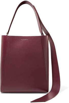 Calvin Klein Buck Stripe Leather Shoulder Bag - Burgundy