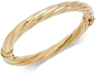 Italian Gold Polished Twisted Bangle Bracelet in 14k Gold