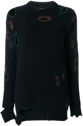 Ballantyne distressed holey sweater
