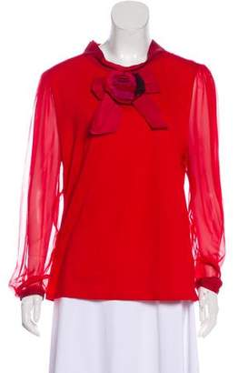 Lanvin Bow-Accented Long Sleeve Top
