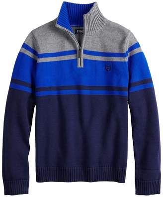 Chaps Boys 4-20 Bruce Colorblock Quarter-Zip Sweater