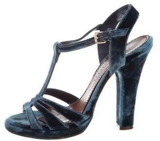 Marc Jacobs Velvet T-Strap Sandals