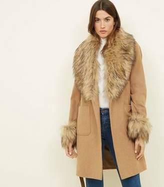 New Look Camel Detachable Faux Fur Trim Coat