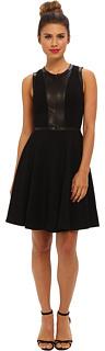 Rebecca Taylor Sleeveless Ponte & Leather Dress
