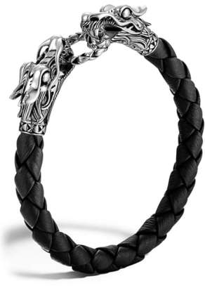 John Hardy 'Naga' Dragon Head Leather Bracelet