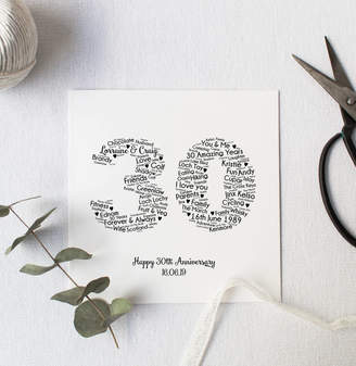 Hope and Love Personalised 30th Wedding Anniversary Gift